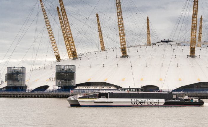 Establishing shot of Uber Boat by Thames Clippers