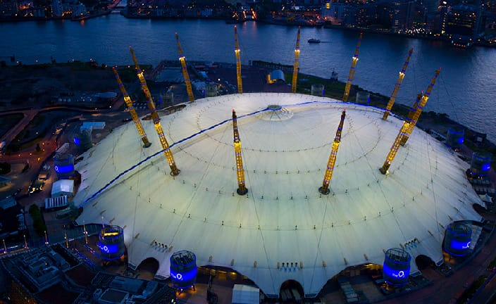 Establishing shot of The O2